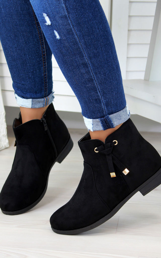 Black Knot Ankle Boots by Larena Fashion