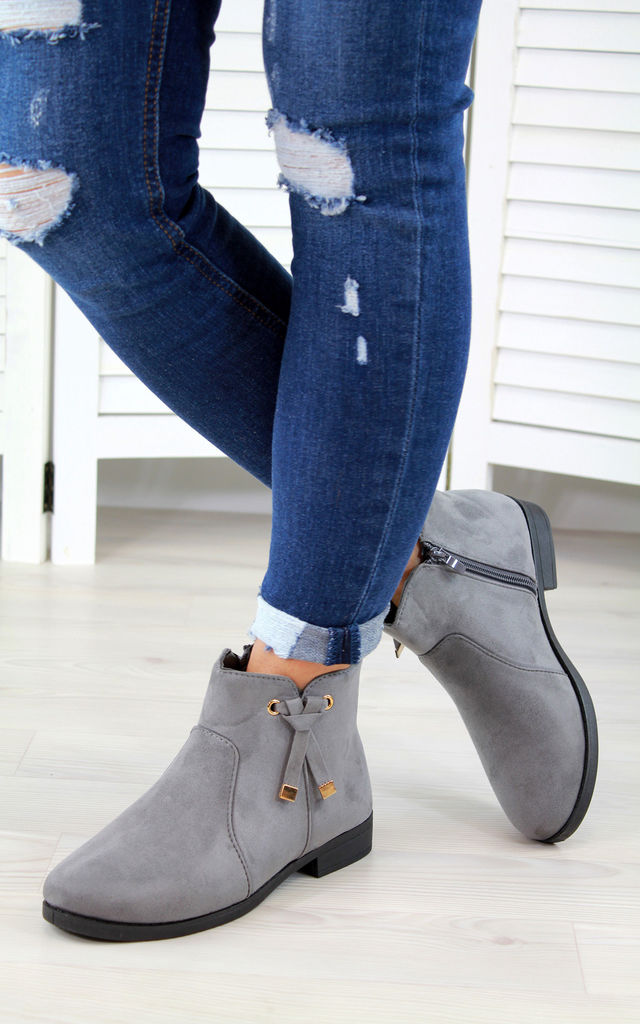 Grey Knot Ankle Boots by Larena Fashion