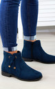 Navy Knot Ankle Boots by Larena Fashion