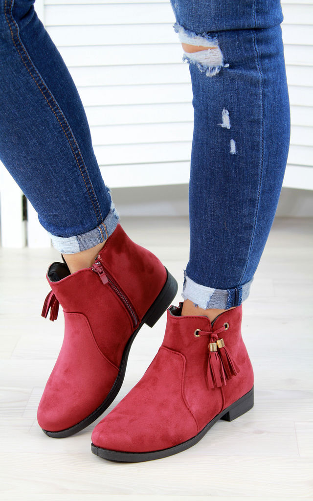 Dark Red Tassel Ankle Boots by Larena Fashion