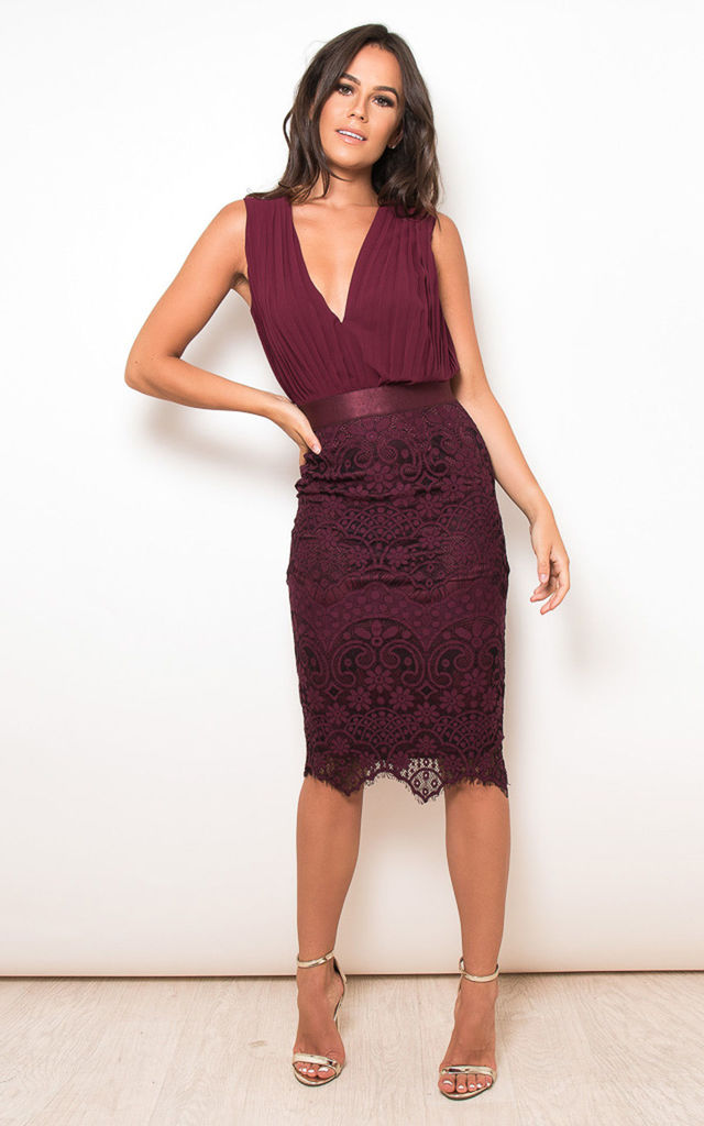 91d35b363c8 Flora Pleated Plunge Lace Bodycon Midi Dress Wine by Girl In Mind