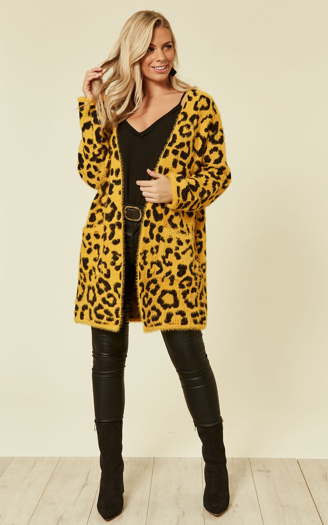 Long Relaxed Fit Cardigan in Yellow Leopard Print by CY Boutique