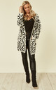 Long Relaxed Fit Cardigan in White Leopard Print by CY Boutique