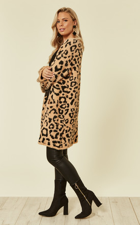 Long Relaxed Fit Cardigan in Neutral Leopard Print by CY Boutique