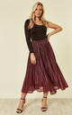 Sparkly Metallic Pleated Skirt In Black And Pink by CY Boutique