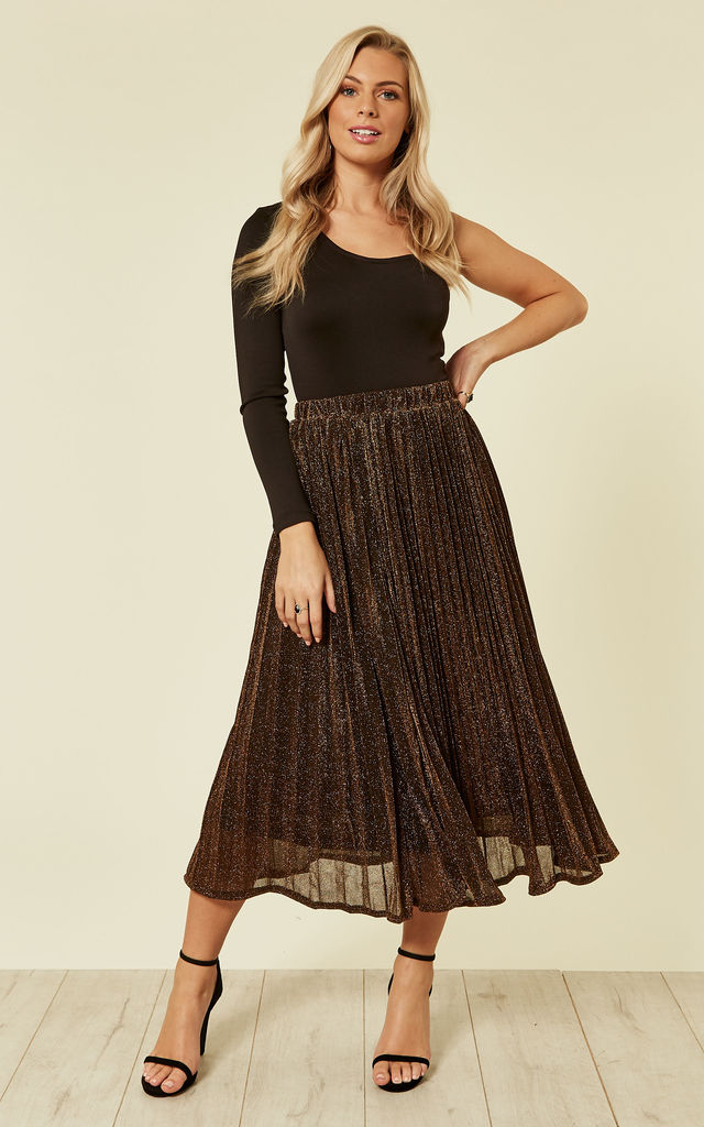 Sparkly Metallic Pleated Skirt in Black and Gold by CY Boutique