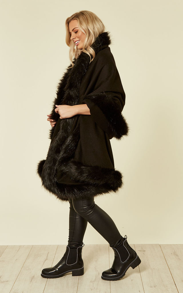 Joules Black Faux Fur Trimmed Shawl by Faux England