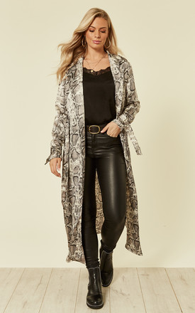 Grey Satin Snake Print Duster Jacket by MISSI LONDON