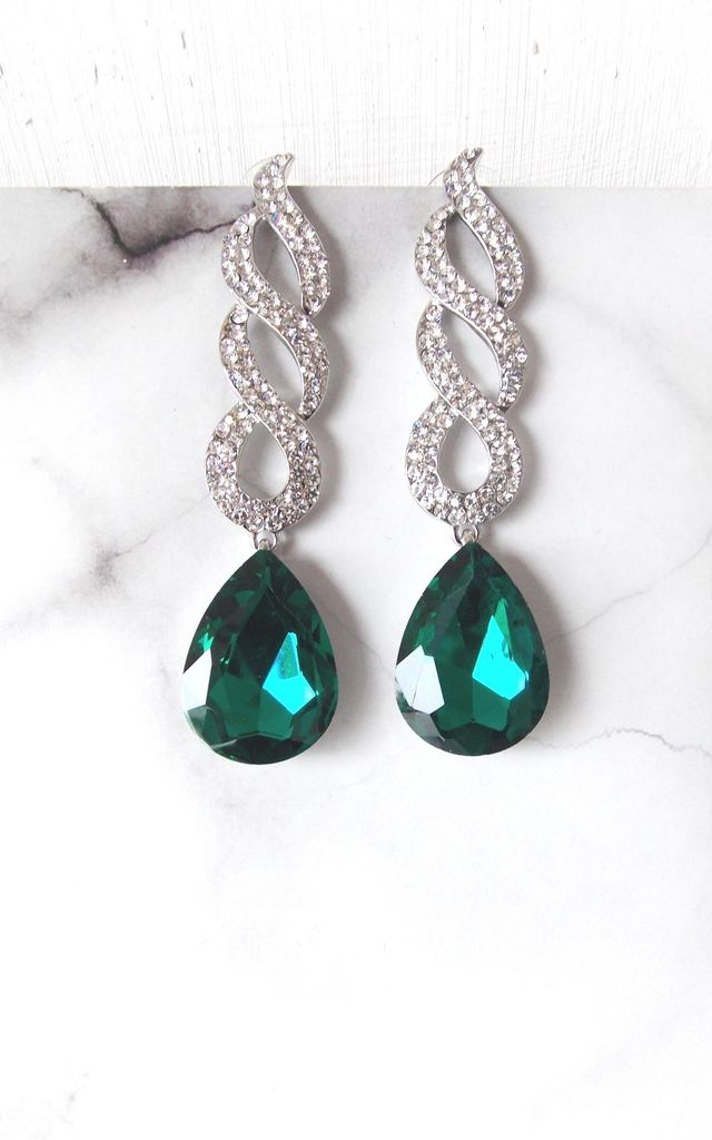 Emerald Green and Silver Crystal Spiral Earrings by Olivia Divine Jewellery