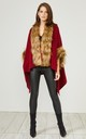 Red Faux Fur Trim Coat by URBAN TOUCH