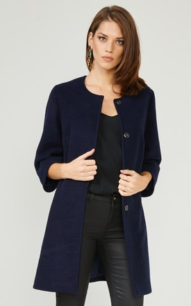 Navy Textured Smart Coat Jacket by URBAN TOUCH