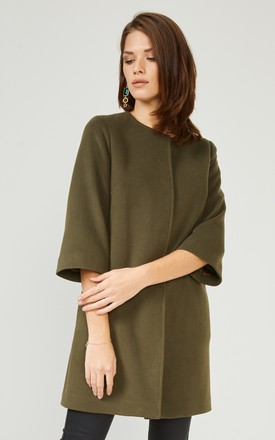 Khaki Textured Smart Coat Jacket by URBAN TOUCH
