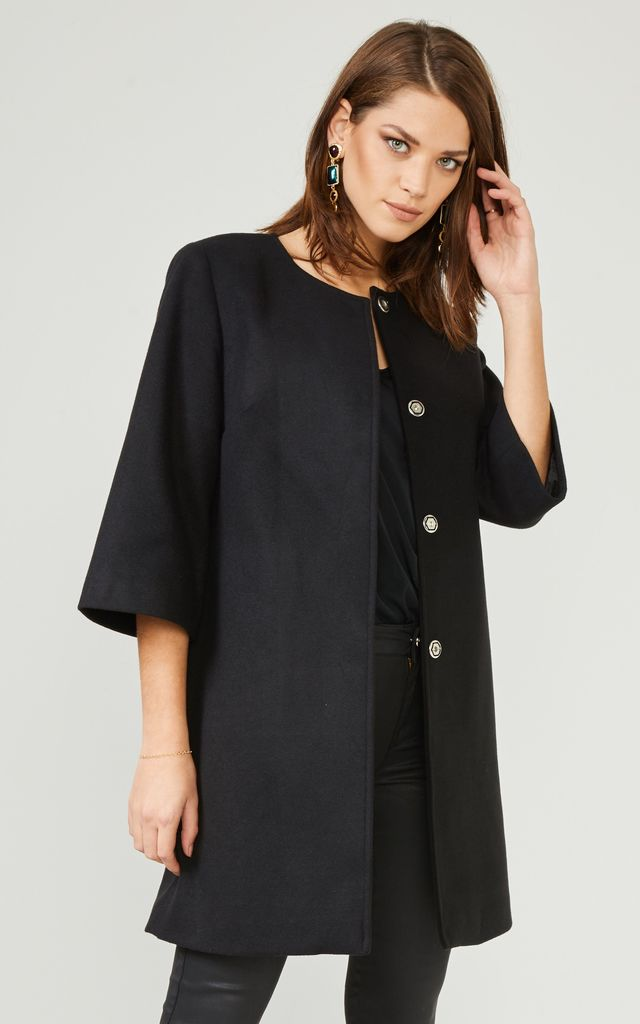 Black Textured Smart Coat Jacket by URBAN TOUCH