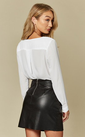 Black Soft PU Leather Skirt by VM