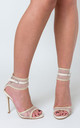 Rita Fishnet Heel in Nude Faux Leather by Poised London