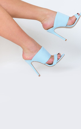 Perrie Heeled Mule in Pale Blue Lycra by Poised London