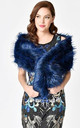 Navy Thick Soft Fluffy Faux Fur Long Collar Scarf by Urban Mist