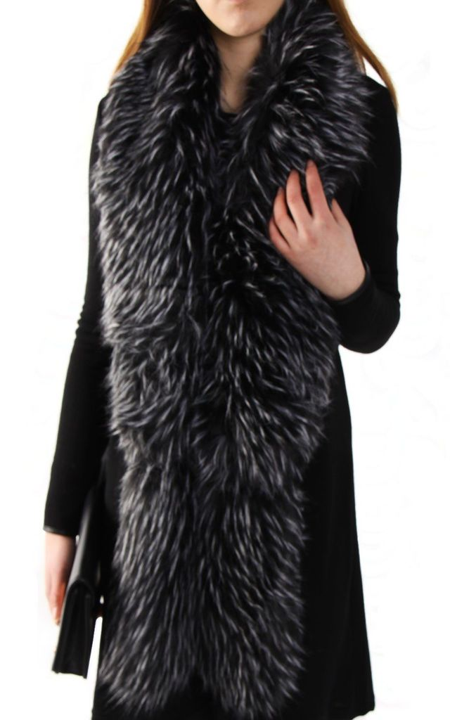 Black/White Thick Soft Fluffy Faux Fur Long Collar Scarf by Urban Mist
