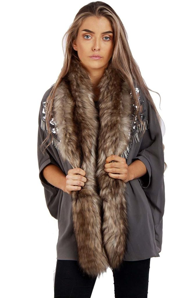 Taupe Thick Soft Fluffy Faux Fur Long Collar Scarf by Urban Mist
