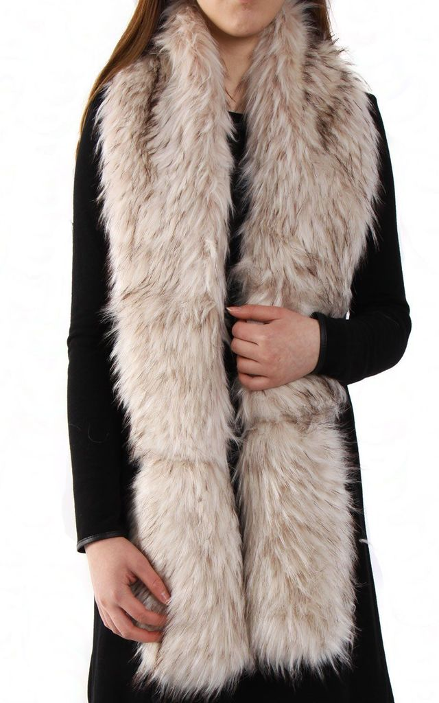 Champagne Thick Soft Fluffy Faux Fur Long Collar Scarf by Urban Mist