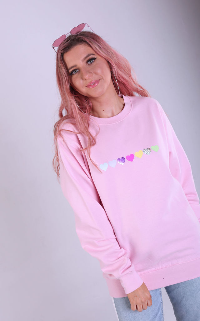 Regular Fit Sweatshirt in Baby Pink with Glitter Hearts by LimeBlonde