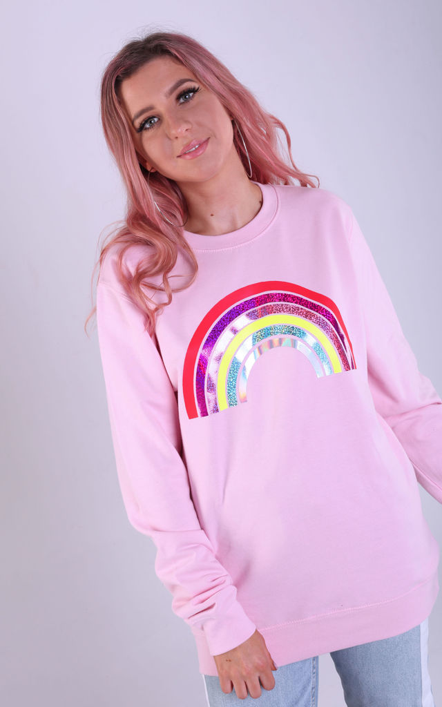 Regular Fit Sweatshirt in Baby Pink with Glitter Rainbow by LimeBlonde