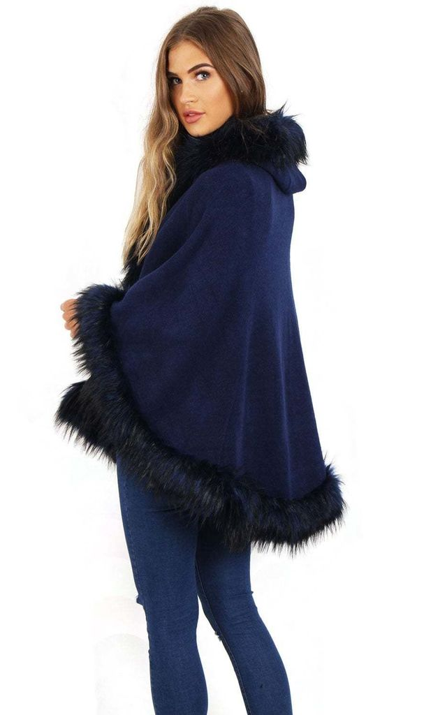 Navy  Short Poncho Cape with Faux Fur Hood Cuffs and Trim by Urban Mist