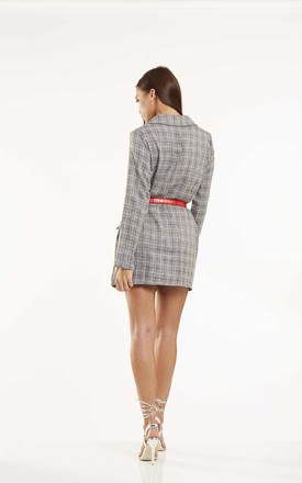 Tartan Double Breasted Blazer Dress in Grey by Candypants