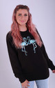 Regular Fit Sweatshirt in Black with Blue Glitter Flamingos by LimeBlonde