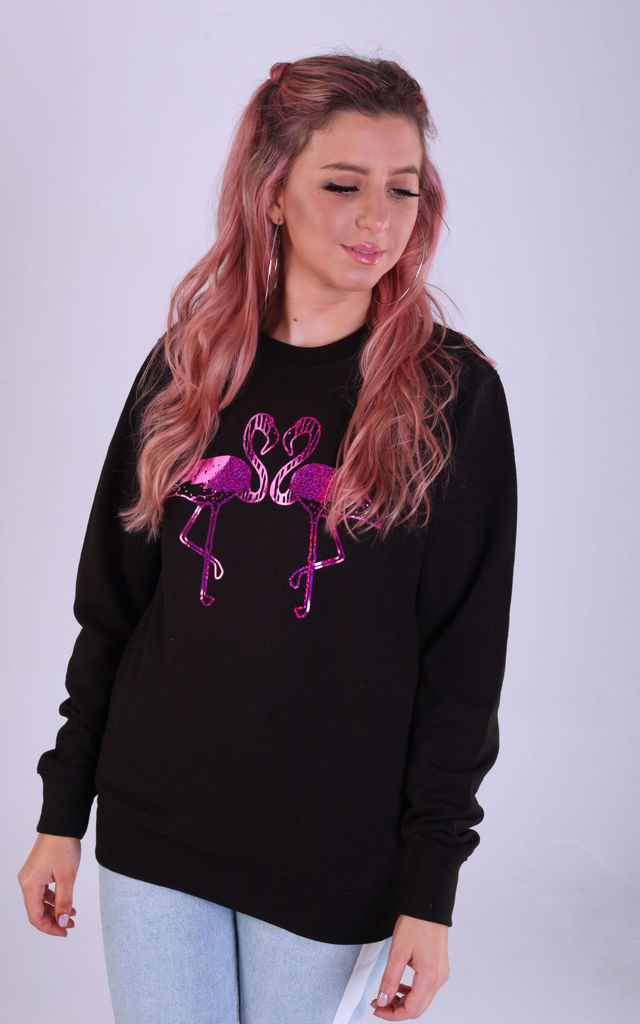 Regular Fit Sweatshirt in Black with Pink Glitter Flamingos by LimeBlonde
