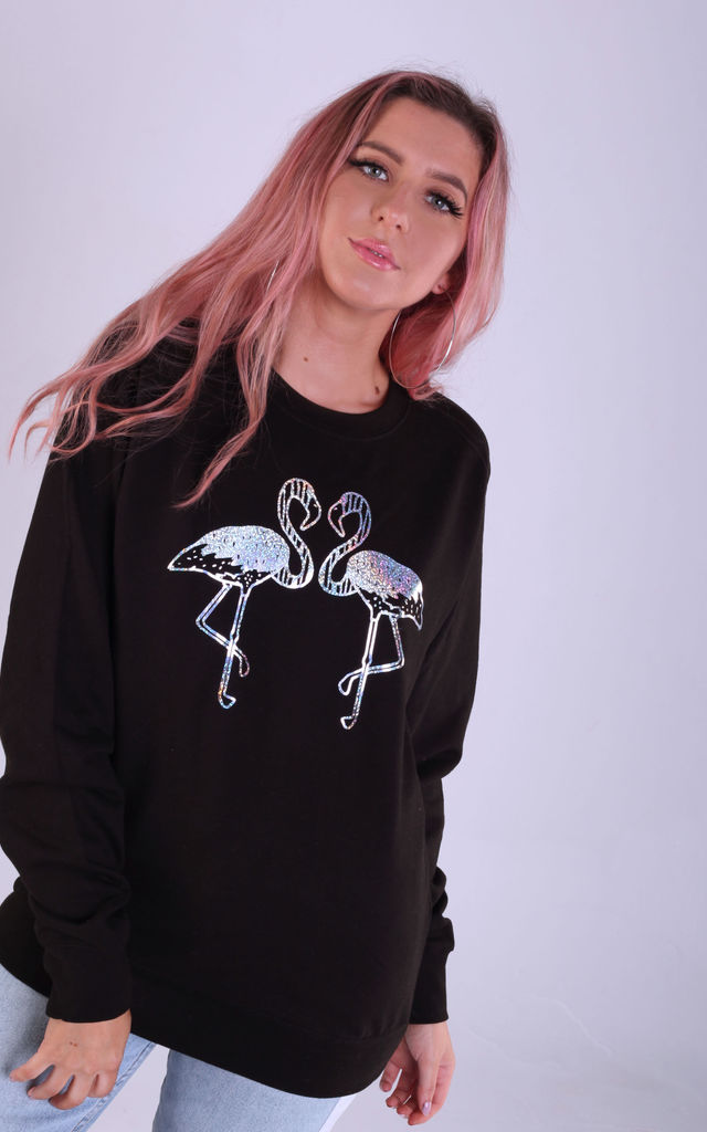 Regular Fit Sweatshirt in Black with Silver Glitter Flamingos by LimeBlonde