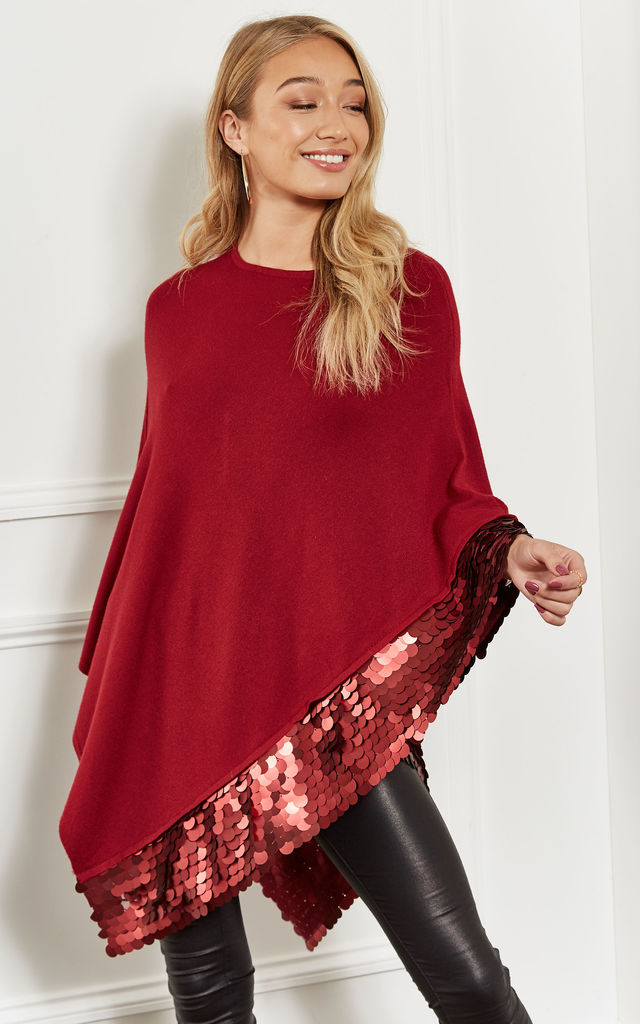 Wine Sequin Hem Poncho by Bella and Blue