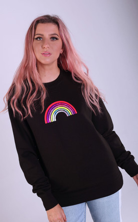 Regular Fit Sweatshirt in Black with Mini Glitter Rainbow by LimeBlonde