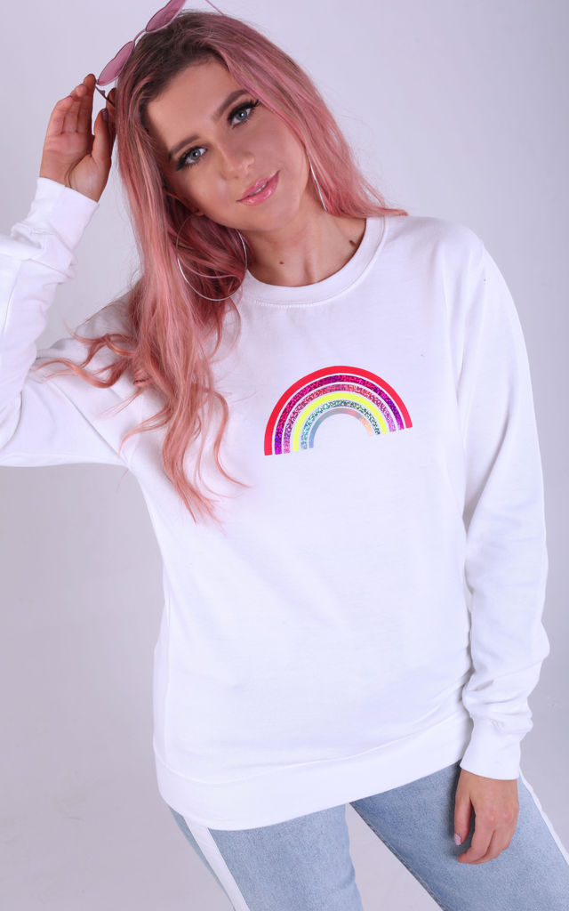 Regular Fit Sweatshirt in White with Mini Glitter Rainbow by LimeBlonde