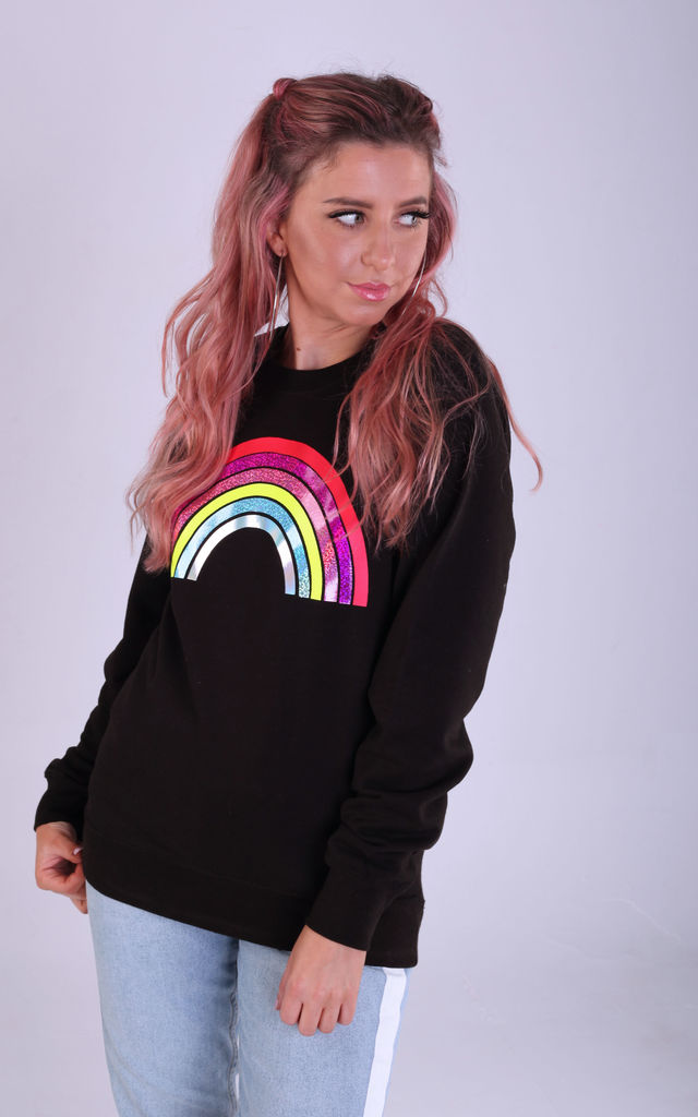 Regular Fit Sweatshirt in Black with Glitter Rainbow by LimeBlonde