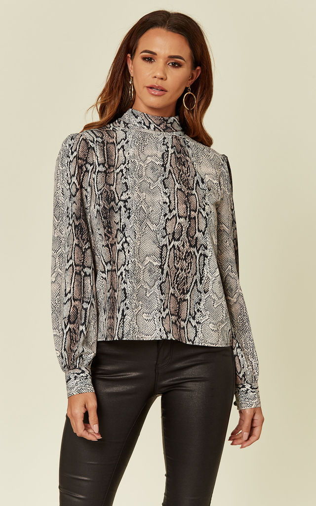 667ebbd7d07 Luna Brown Grey Snake Skin Animal Print High Neck Pussybow Top Shirt by Love