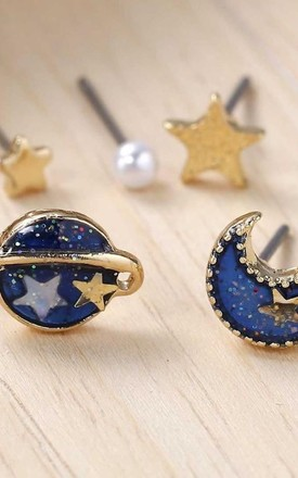 5 Pack Mini Assorted Space Galaxy Earrings by Helix and Felix