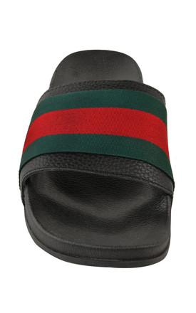 Black sliders with Green red stripe by The Fashion Bible