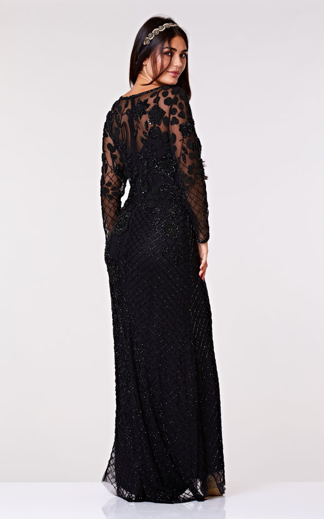 Polly Long Sleeved Maxi Dress in Black by Gatsbylady London