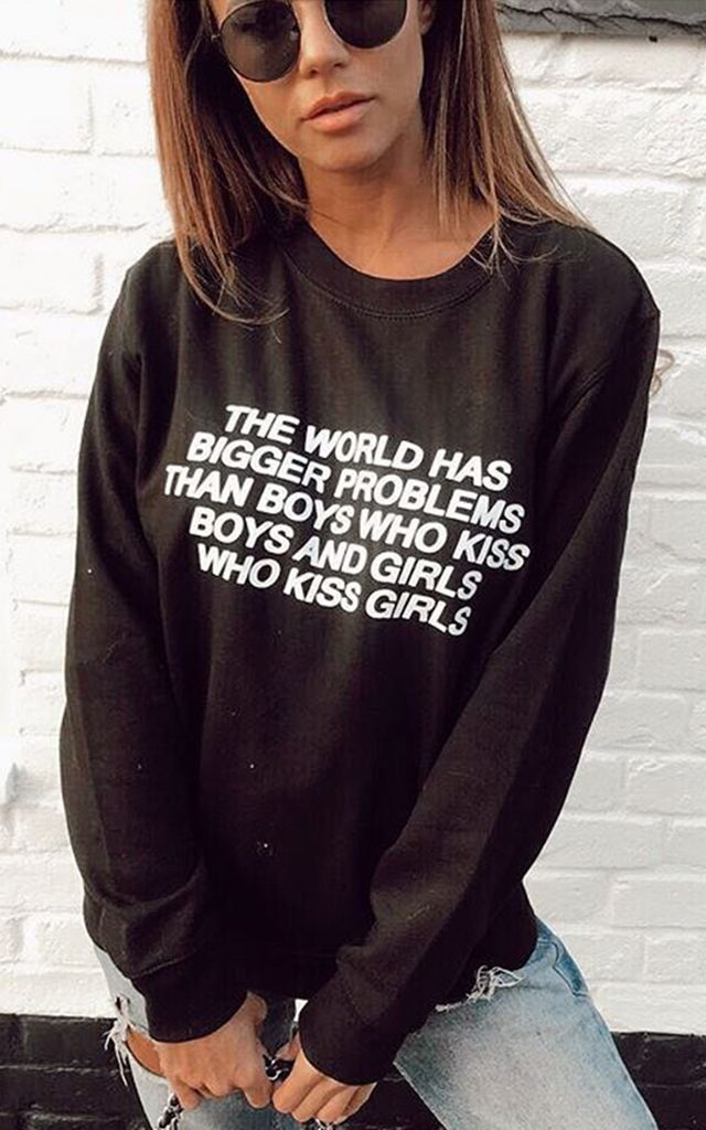Sweatshirt in Black with Equality Slogan Jumper by Save The People