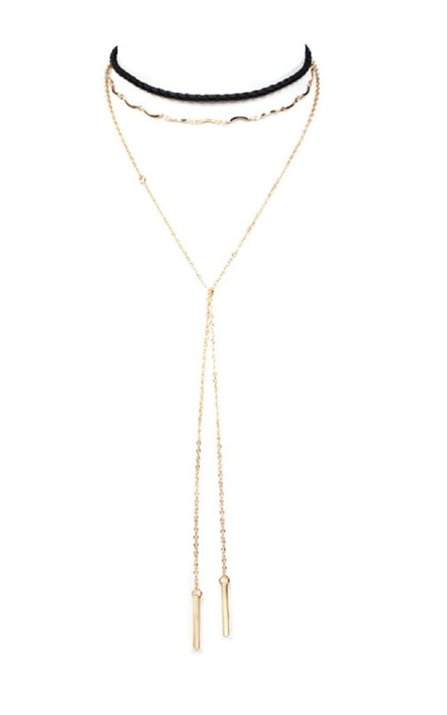 Layered Skinny Choker Drop Necklace by HAUS OF DECK