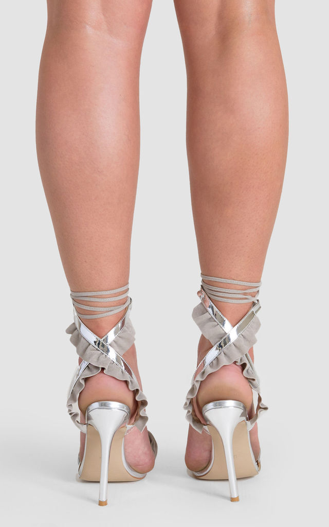 Rhea Lace up Heels with Grey Velvet Ruffle in Silver Patent by Poised London