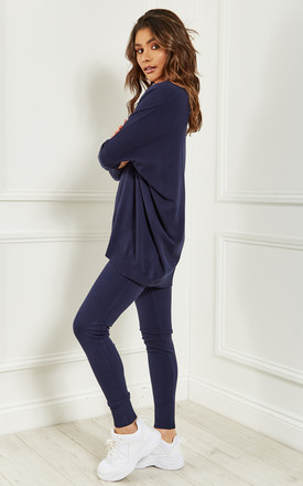 Navy Light Knit Soft Touch Lounge Set by Bella and Blue