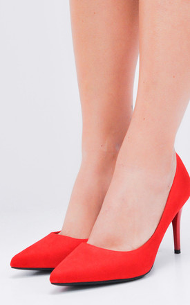 Suede Stiletto Pointed Court Heels Red by LILY LULU FASHION