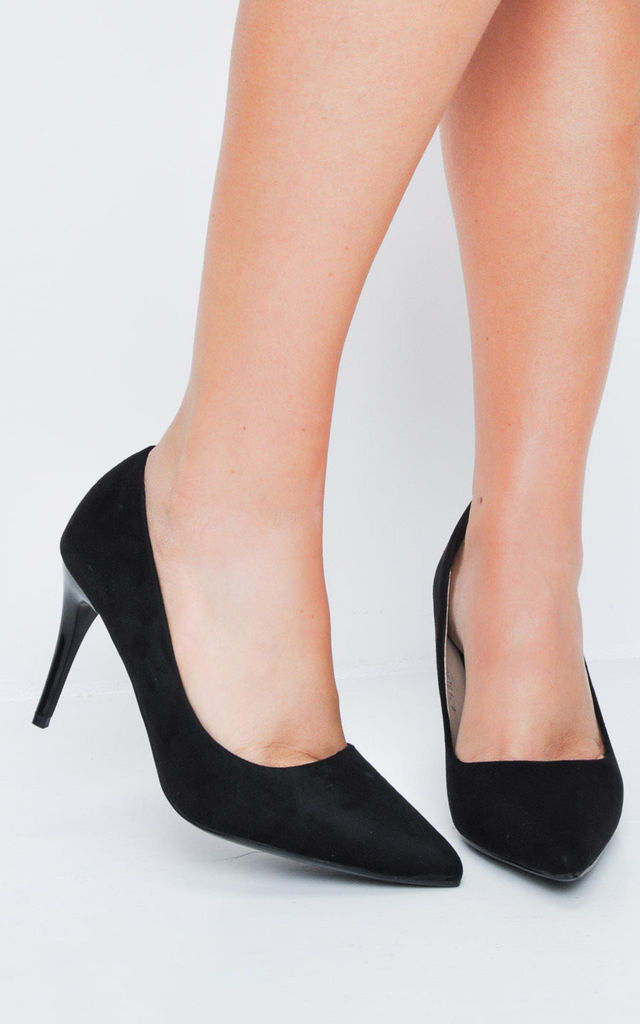 3d6c1ae34cd7 Suede Stiletto Pointed Court Heels Black by LILY LULU FASHION