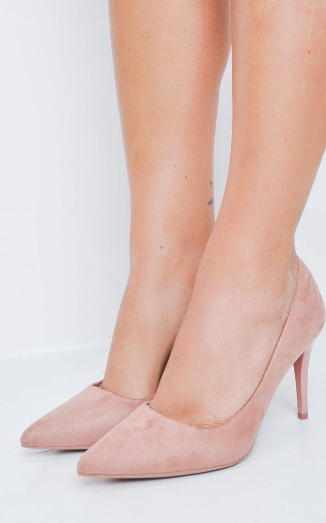 Suede Stiletto Pointed Court Heels Pink by LILY LULU FASHION