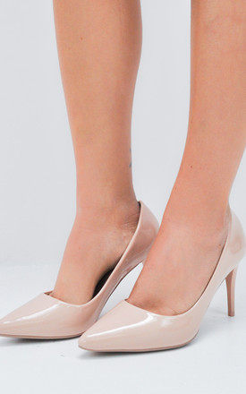 Patent Stiletto Pointed Court Heels Beige by LILY LULU FASHION