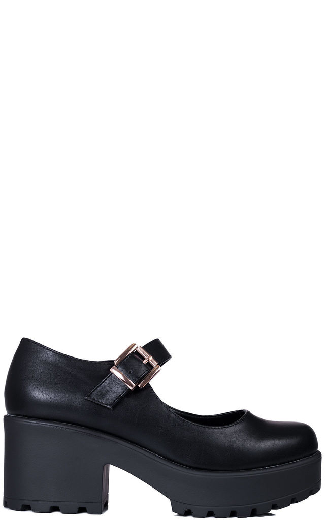 PENGUINA Adjustable Buckle Block Heel Shoes - Black Leather Style by SpyLoveBuy
