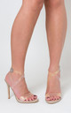 Tiffany Studded Perspex Heel in Nude Patent Faux Leather by Poised London