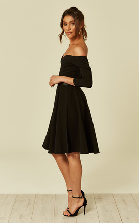 Rachel Off The Shoulder Doll Party Skater Dress In Black by Collectif Clothing